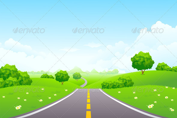 Landscape - Green Hill with Road and Mountains