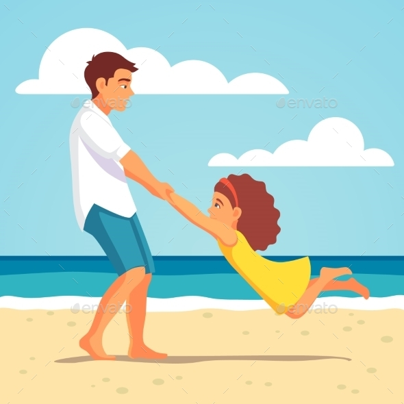 Father Playing with Daughter on the Beach