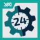 24 Hour Support - Gear Setting Logo - GraphicRiver Item for Sale