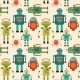Seamless Pattern Background With Cute Retro Robots - GraphicRiver Item for Sale