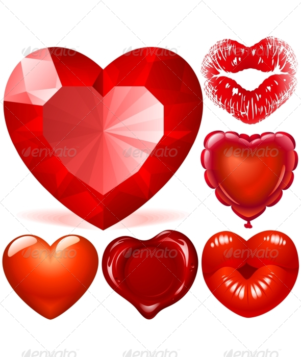 Valentine day set of Red Hearts