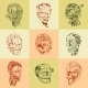 Set Of Nine Drawn Image With The Zombie Skull. - GraphicRiver Item for Sale