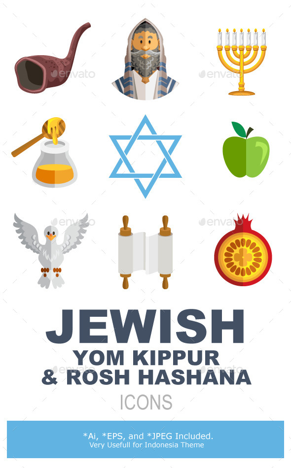 Rosh Hashana Jewish New Year Yom Kippur Icons