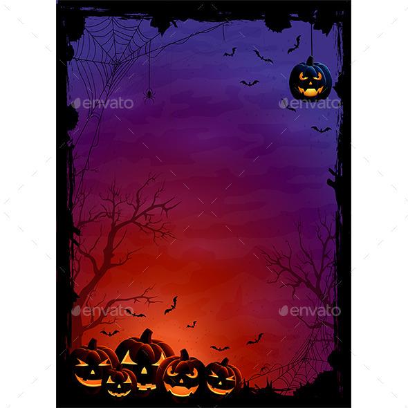 Halloween Pumpkins and Bats