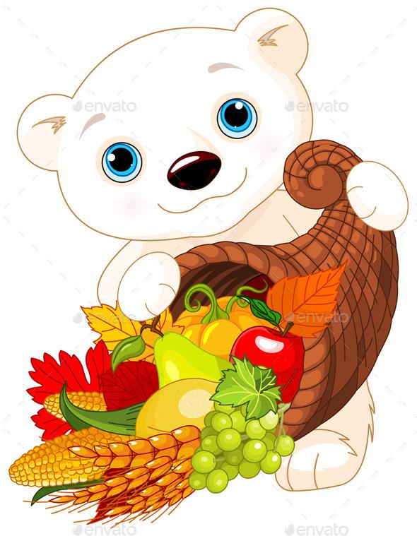 Polar Bear Holds Cornucopia
