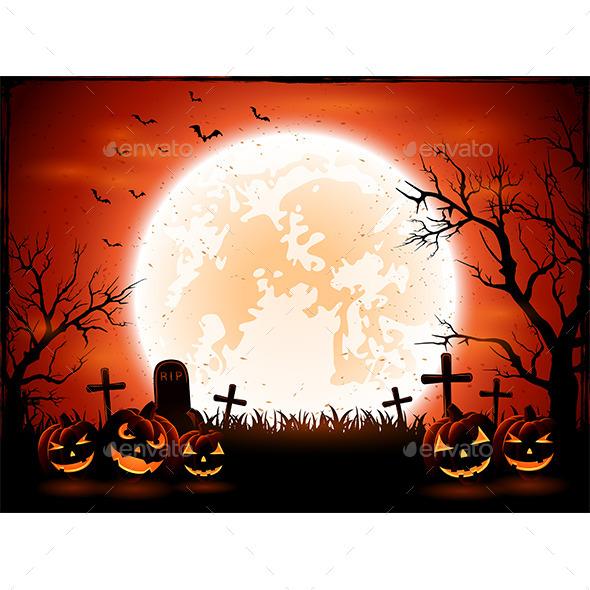 Halloween Pumpkins on Graveyard