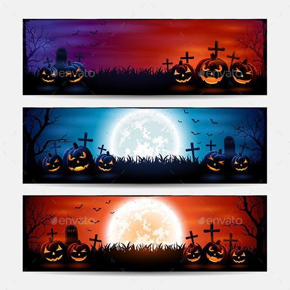 Halloween Banners with Pumpkins