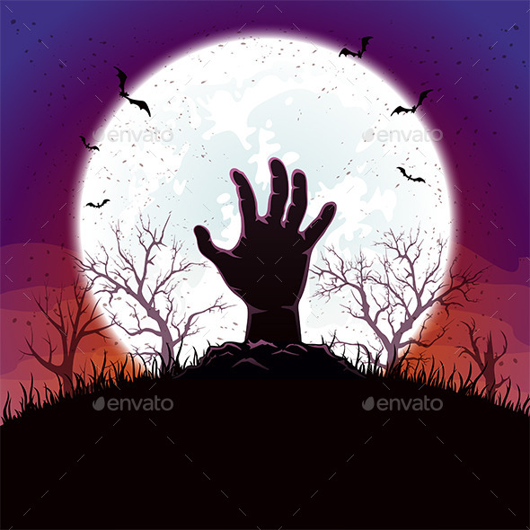 Halloween Background with Hand and Moon