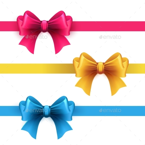 Set of Gift Bows with Ribbons