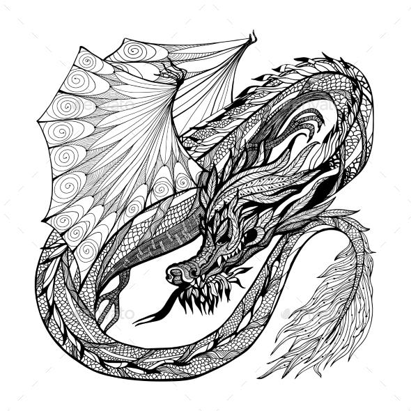 Sketch Dragon Illustration