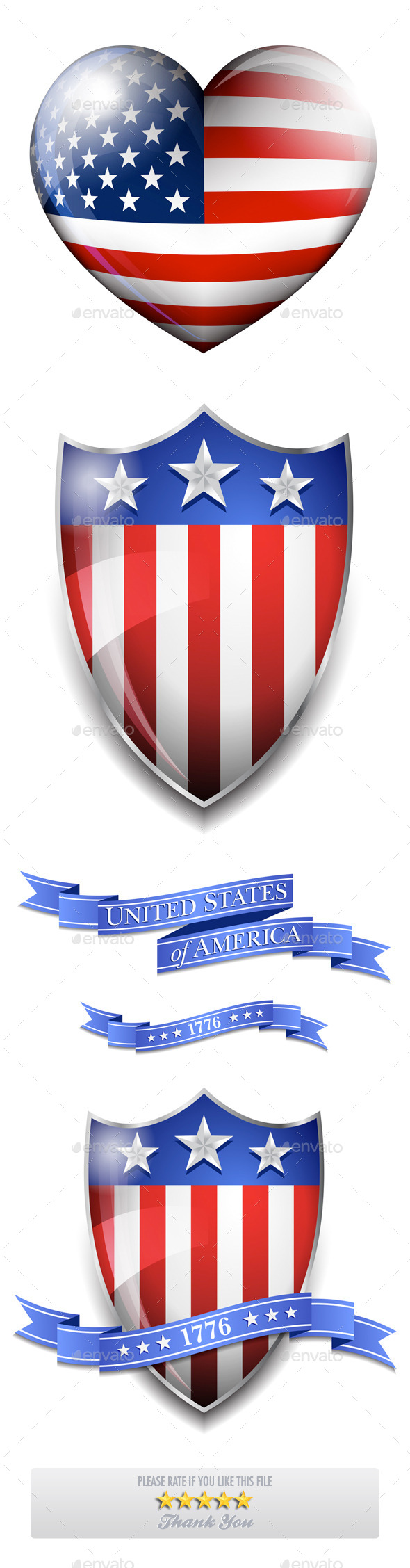 American Stars and Stripes Heart and Shield with Scroll Banners