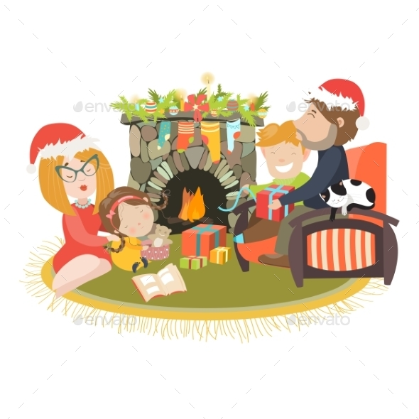Family Celebrating Christmas At Fireplace