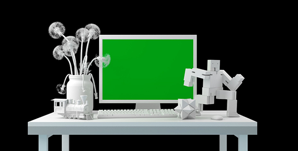Desktop With Objects and Computer Monitor