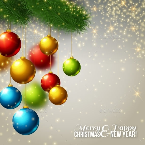 Christmas Background With Colorful Balls.