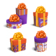 Set of Colorful Celebration Gift Boxes with Bows - GraphicRiver Item for Sale