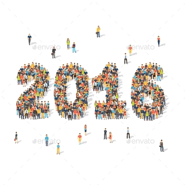New Year Celebration Concept. People Forming 2016