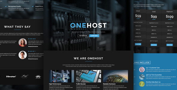 Onehost - One Page WordPress Hosting Theme