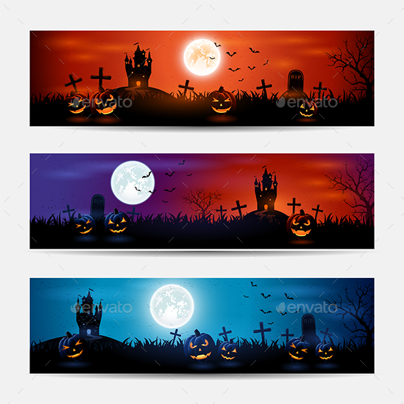 Halloween Banners with Castle