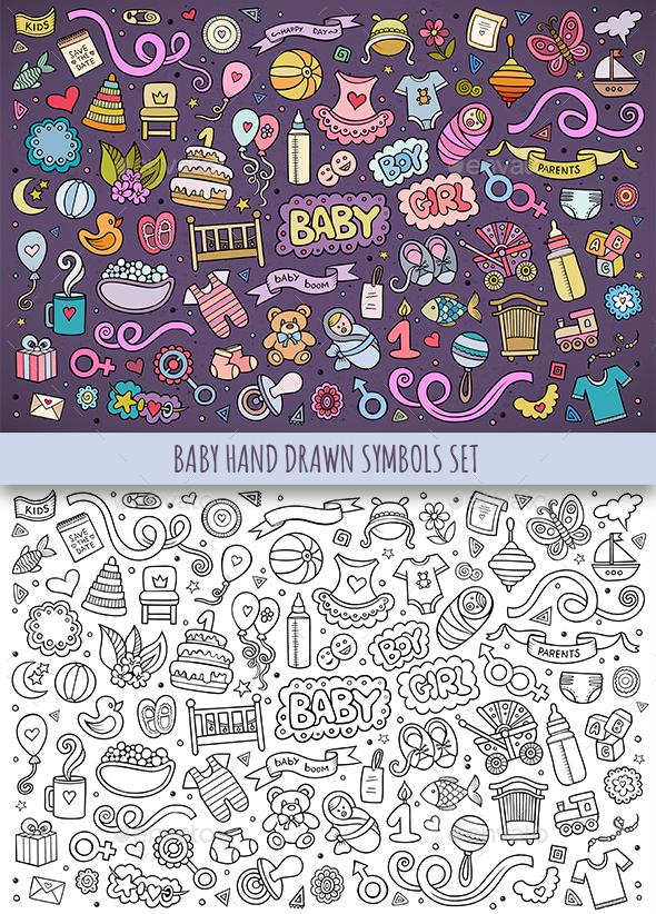 Hand Drawn Baby Doodles Symbols