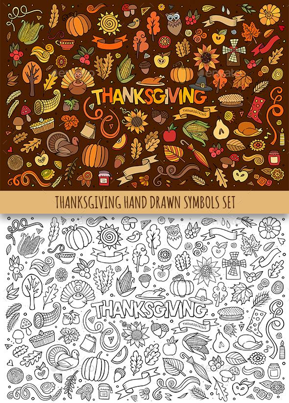 Hand Drawn Thanksgiving Doodles Symbols