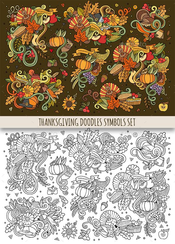 Thanksgiving Doodles Symbols Set