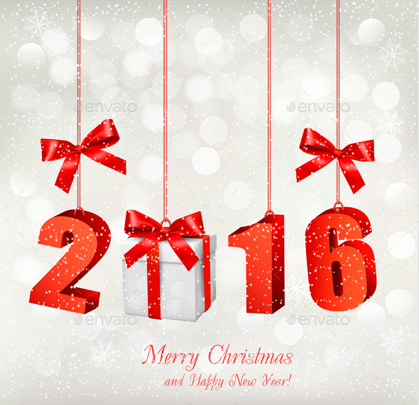 2016 New Years Background with Gift