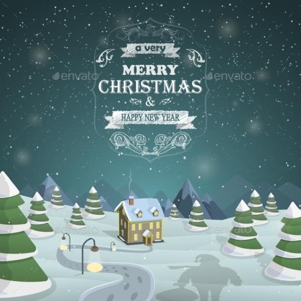 Christmas Eve Background Vector Illustration.
