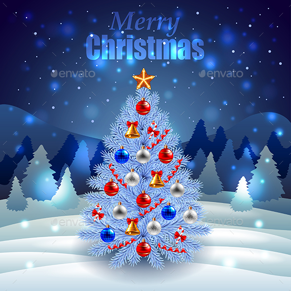 Decorated Christmas Tree on Night Winter Scenery