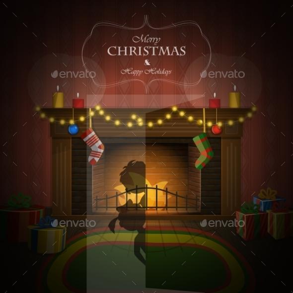 Christmas Decorated Fireplace Illustration
