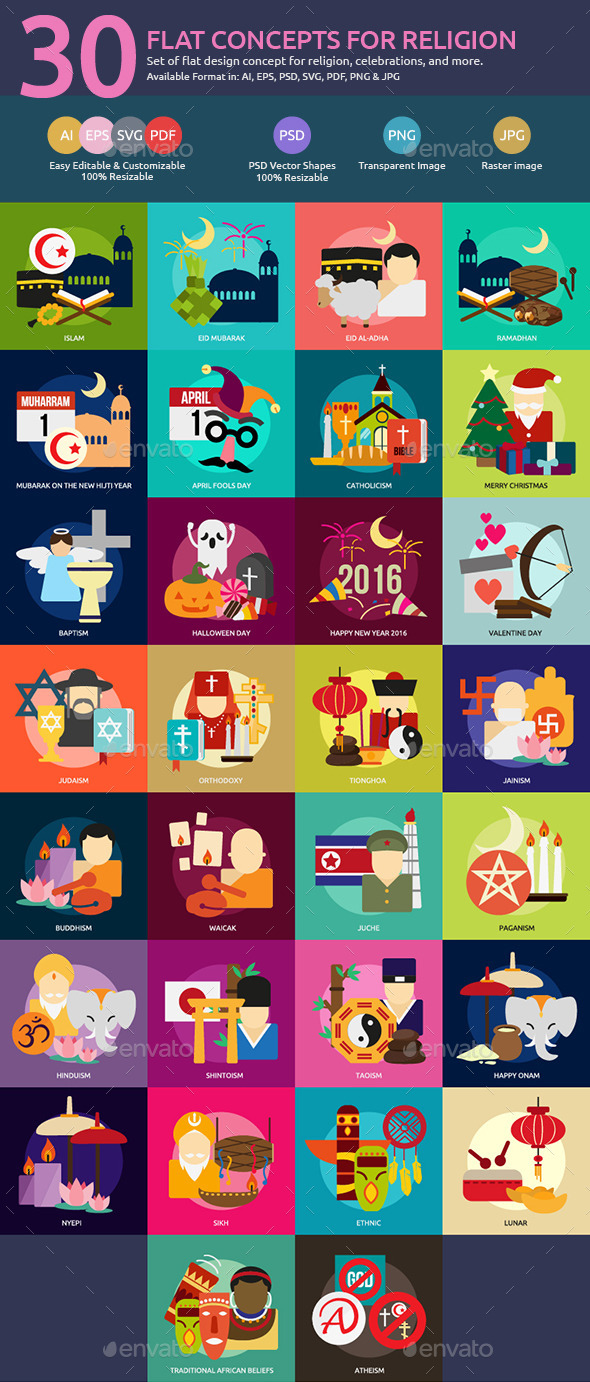 Flat Concepts for Religion & Celebrations