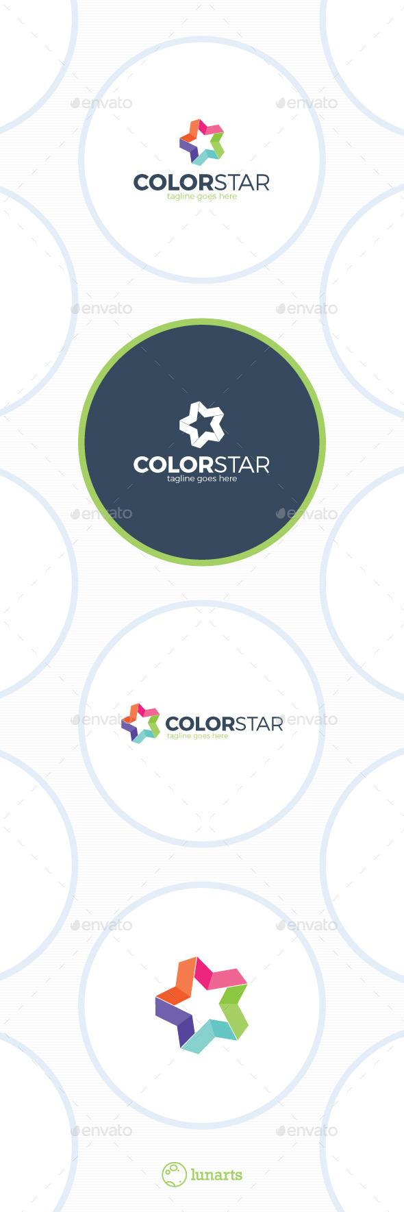 Colorful Star Logo - Bold Line