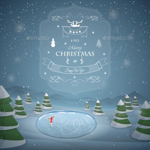 Winter Christmas Landscape Vector Illustration.