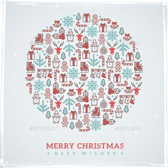 Vintage Christmas Elements Formed Circle. Vector