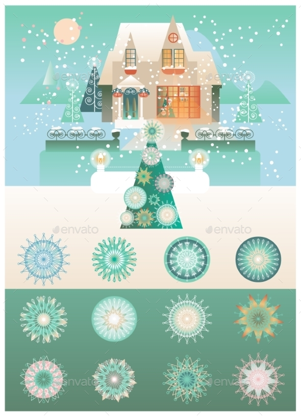 Christmas Vintage Design With Snowflakes Vector
