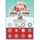 Christmas Vector Set With House And Snowlakes .  - GraphicRiver Item for Sale