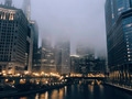 Chicago's urban skyscrapers at foggy night, IL, USA - PhotoDune Item for Sale