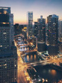 Chicago river and buildings at sunset  - PhotoDune Item for Sale
