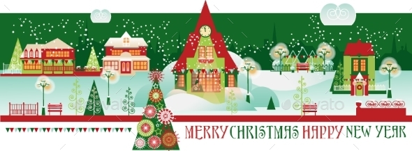 Vintage Christmas Banner With Eve Cityscape