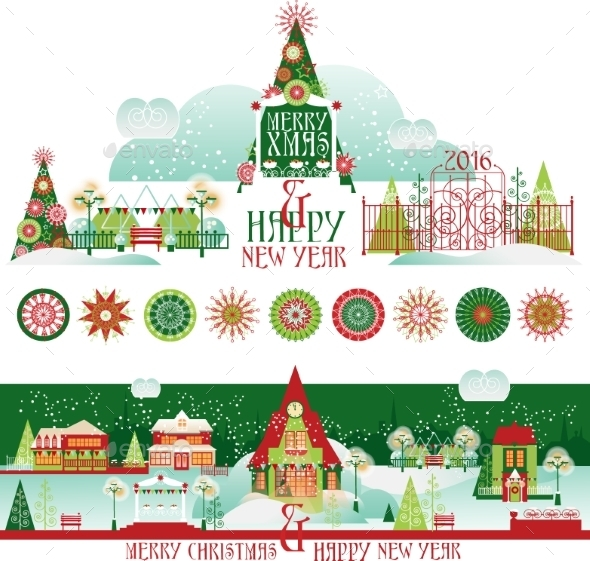 Christmas Decorating Set with Eve Cityscape