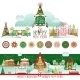 Christmas Decorating Set with Eve Cityscape  - GraphicRiver Item for Sale