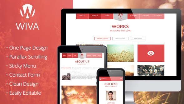 Wiva - One Page Parallax Muse Template