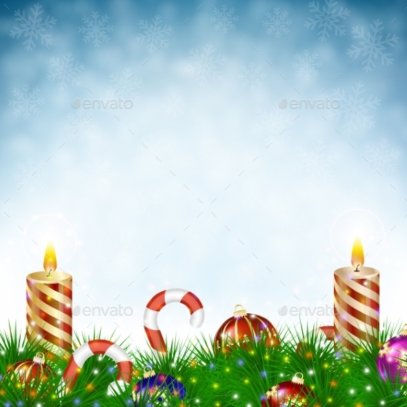 Two Burning Christmas Candle