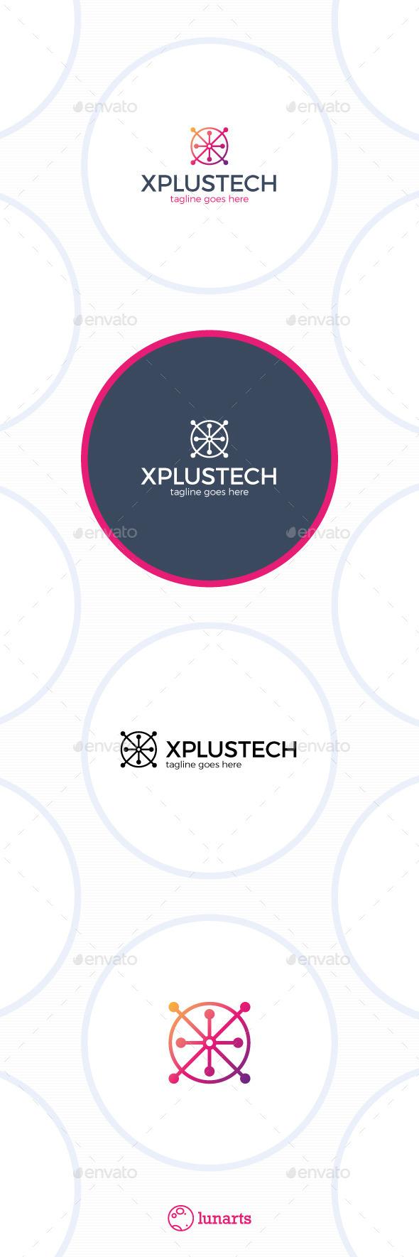 Plus Tech Logo - Letter X