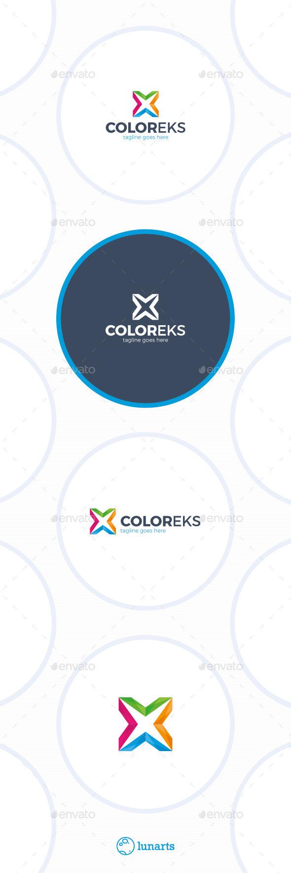Color Letter X Logo
