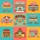 Set Of Markets And Local Shops Buildings - GraphicRiver Item for Sale