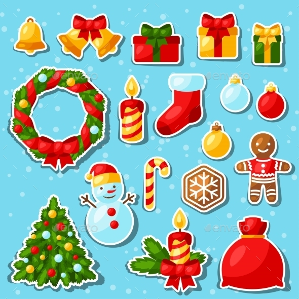 Set Of Merry Christmas And Happy New Year Sticker