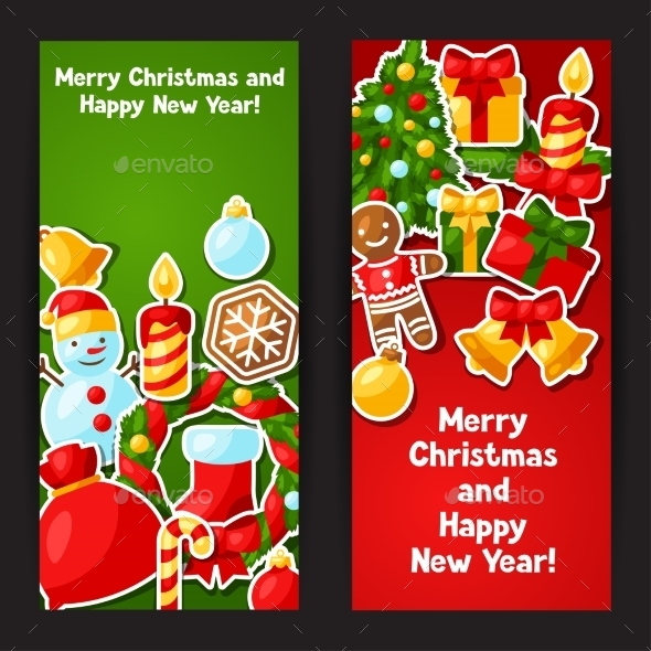 Merry Christmas And Happy New Year Sticker Banners
