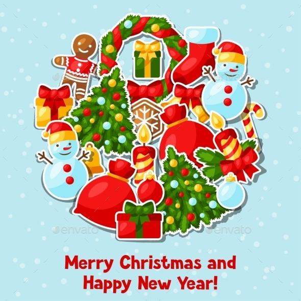 Merry Christmas And Happy New Year Sticker
