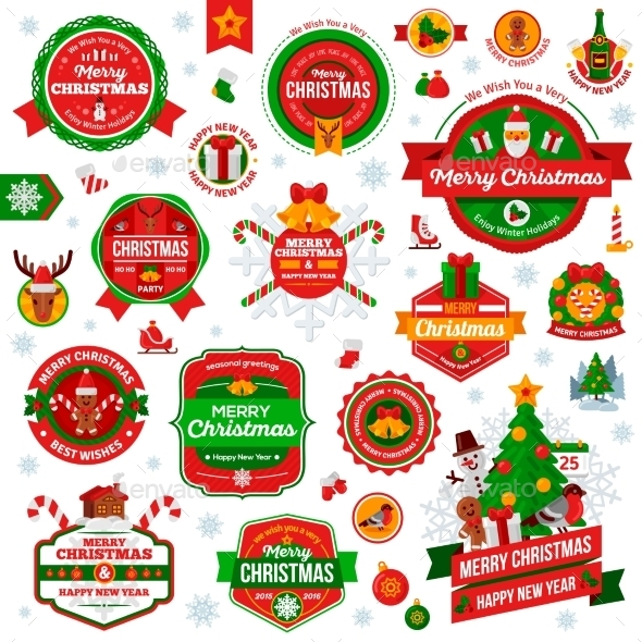 Vintage Happy New Year and Merry Christmas Badges