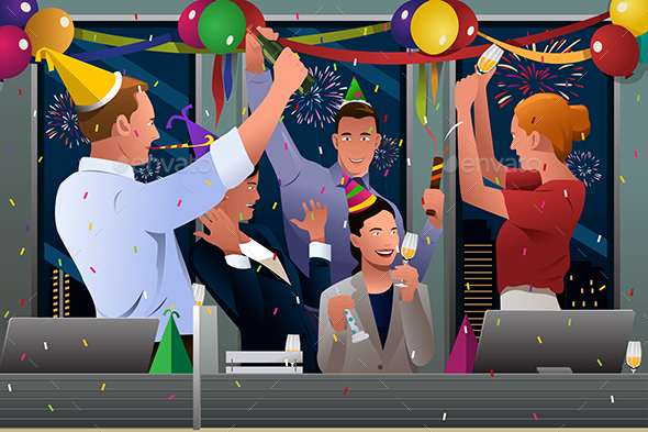 Business People Celebrating New Year